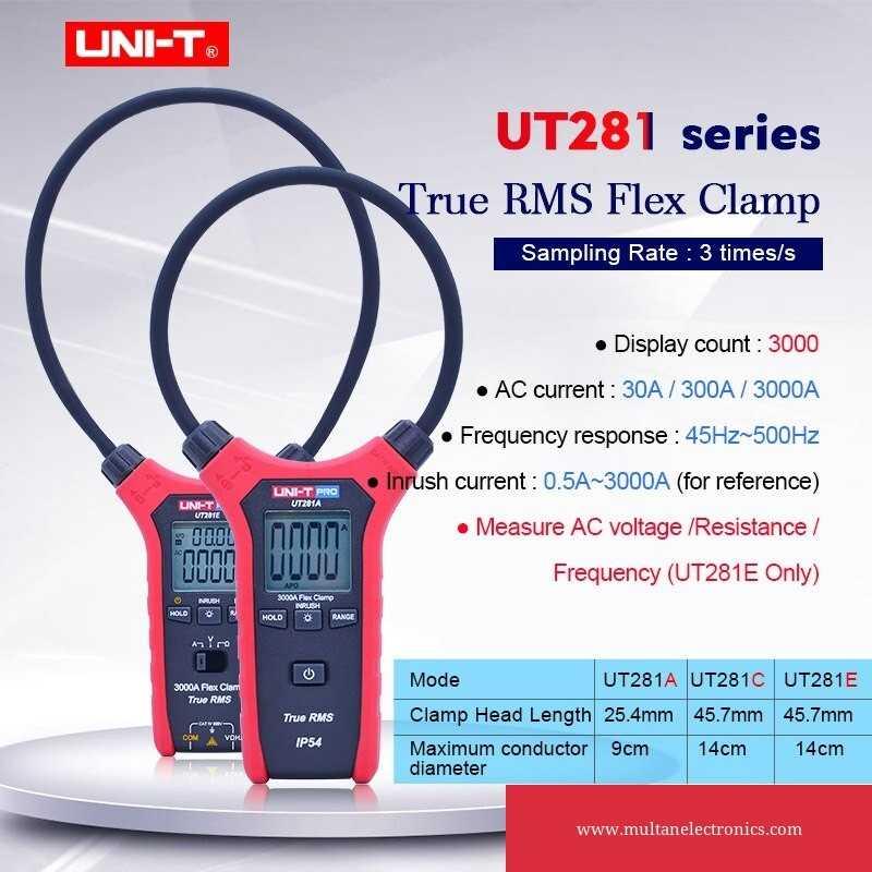 UNI-T UT281A & UT281C True RMS Clamp Ammeter Digital Flexible Clamp Meter Multimeter Multipurpose