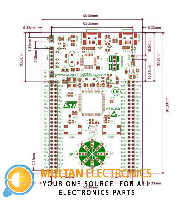 STM32 Discovery Kit for STM32 F3 Series with STM32F303 MCU DIMENSION